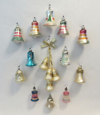 LOT OF 12 VTG 1930s 50s GLASS BELL CHRISTMAS TREE ORNAMENTS + 4 BONUS BELLS