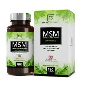 MSM 1200mg Methylsulfonylmethane Plus Vitamin C | 180 Capsules | Joint Support
