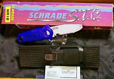 Schrade Wr1B Divers Knife Nos W/Sheath,Packaging,Papers Scuba Gear Blue Handle