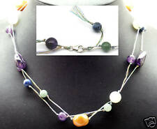 """Gorgeous Handmade Multi Gemstones Necklace 18"""", .925, Sterling and Silver"""