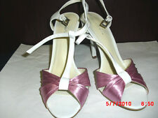 """CHARLOTTE RUSSE PINK/WHITE  ALL MAN MADE  UPPER 4"""" STRAPPY HEEL WOMENS SIZE 8M"""
