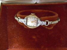 Vintage 10 KT Diamond Trim Bulova Dewdrop Womens Watch in Box