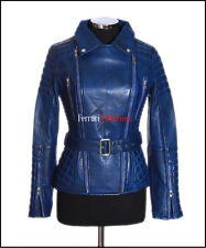 Shakira Blue Ladies Retro Jacket Real Lambskin Catwalk Military Fashion Jacket