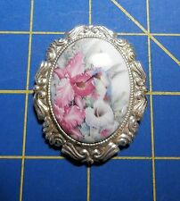Framed Hummingbird Among Orchids~Magnetic Needle Minder Tool