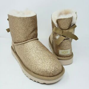 UGG Australia Womens 6 Mini Bailey Gold Glitter Boots Bow Fur Lined Shoes New