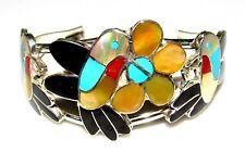 Zuni Hummingbird Inlay Sterling Silver Cuff Bracelet Native American Signed