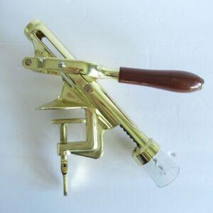 Brass Wine Bottle Corkscrew Opener Wood Handle Counter Table Mount Bar Man Cave