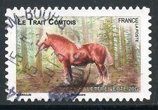 TIMBRE FRANCE AUTOADHESIF OBLITERE N° 818 / FAUNE CHEVAUX DE TRAIT DE NOS REGION