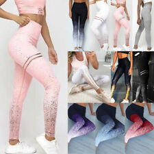 Womens Yoga Leggings Glitter Fitness Sports Run Gym Workout Jogging Pants Trouse