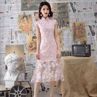 Chinese Traditional Midi Cheongsam Women Summer Lace Dress Ball Qipao M-3XL