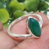 925 Sterling Silver Ring Green Onyx Gemstone Handmade Jewelry