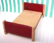 DOLLS HOUSE, BED, 16TH, LUNDBY, RED, WOOD, BEDROOM, HOSPITAL, VINTAGE, A
