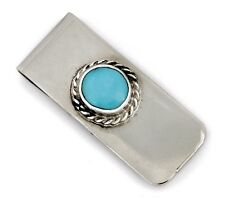 Clip .925 Solid Silver & Stainless Men's Navajo Natural Blue Turquoise Money