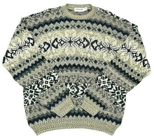 Vintage New Era Mens Sweater Sz XL Grandpa Geometric Acrylic Fair Isle USA Made