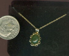 """Nephrite Jade 14k Solid Gold 18"""" Chain & Pendant ~ 8mm x 6mm ~ NWT #2"""