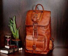 Men Genuine Leather Vintage Laptop Backpack Rucksack Messenger Bag