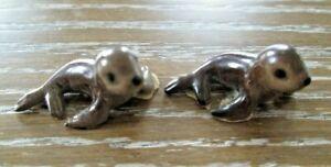 Vintage Hagen Renaker 2 Baby Seal Pups Miniature Figurines