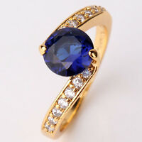 Eternity  24k yellow gold filled sapphire FIT Promise woman ring SzJ-SzR