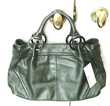 KENNETH COLE Pewter Medium Leather Satchel Handbag