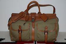 Ralph Lauren Gentleman's Leather & Canvas Weekender Duffle Bag