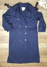 Speigel Trench Coat Womens size 10 Petite Navy Blue Full length belt