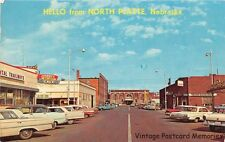 NORTH PLATTE NE 1962 Downtown Business District with Old Stores & Cars '57 Chevy