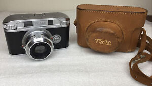 Rare Vintage Vokar 35mm Rangefinder Camera, F2.8 50mm Lens W/Case, 1946-1948