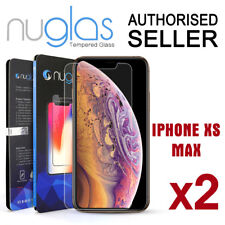 2x GENUINE NUGLAS Tempered Glass Screen Protector Apple iPhone X XS Max XR Clear