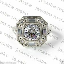 Certified 2.55ct Vintage Art Deco White Round Diamond Engagement 14K Gold Ring