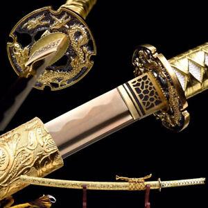 Gold Dragon Phoenix Katana Gold Blade Japanese Samurai Sword Full Tang T10 Steel