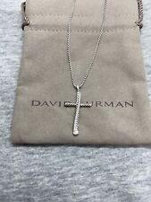 David yurman Silver Cross Crossover Pendant Pave Diamonds Necklace, Adjustable