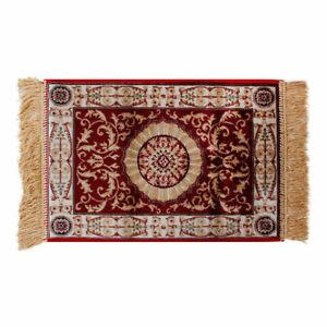 Teppich Classic Östlich Persisch Fransen Medaillon Einrichtung Bordeaux Beige