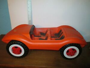 Large Blow Mold Barbie car Made in Germany Orange