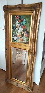 Antique 19th Century Gold Trumeau Mirror W/ Original Painting
