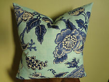 Decorative Pillow Cover Light and Dark Blue Off White Large Floral Pattern Toss
