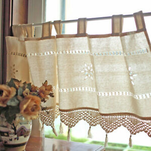 Country Cottage Kitchen Cafe Curtain Window Linen Hand Crocheted Tassel Curtain