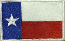 TEXAS Flag Patch with VELCRO® brand fastener Military White Border
