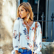 New Womens Long Sleeve Blouse V Neck Chiffon Floral Tops Casual Loose T Shirt