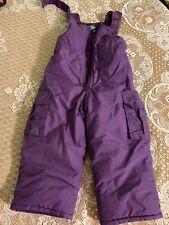Infant Girls Size 3T Oshkosh B'gosh Snow Bibs Purple Adjustable & Elastic In Leg