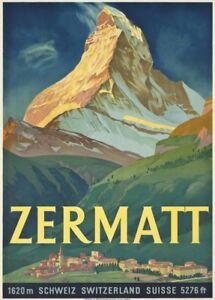 Vintage Ski Posters ZERMATT, Swiss, 1933, 250gsm A3 Art Deco Travel Print