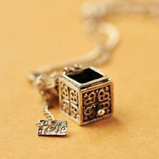 New Vintage Silver Necklace Box Charms Pendant  Women Jewelry Christmas Gift EP