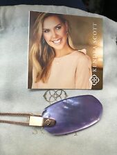 Kendra Scott Inez Rose Gold Long Pendant Necklace in Lilac Mother of Pearl