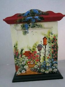 Jewelry /Key Hook Cabinet Wall or Free Standing Hand Painted Flowers Birdhouse