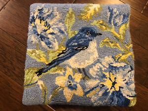 Hooked Wool Bluebird Throw Pillow Cover