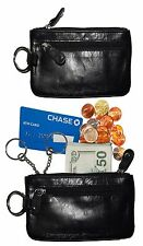 Leather change purse Black Zip coin wallet 2 pocket coin case key rings Lot of 2