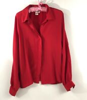 Women's Red Blouse Vintage Long Sleeve Button Down Large L Beautiful