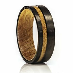 Whiskey Barrel Ring, Tungsten Wood Ring, 8mm Comfort Fit Wedding Band