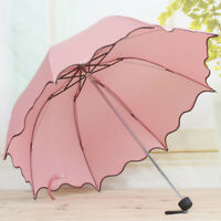 EG_ HK- Women Princess Dome Parasol Sun Rain Foldable Umbrella Anti UV Gift Fash