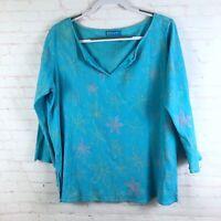 Fesh Produce Women's Size XXL Blue Floral V-Neck Gauze Crinkle 3/4 Sleeve Top