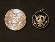 Hand Cut Kennedy 50 Cent Coin Backside made into a necklace